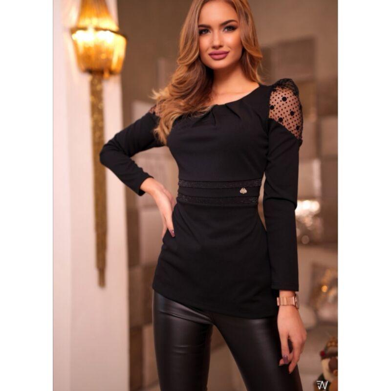Crafty Clothes Fekete hosszú ujjú felső vállán pöttyös neccbetéttel
