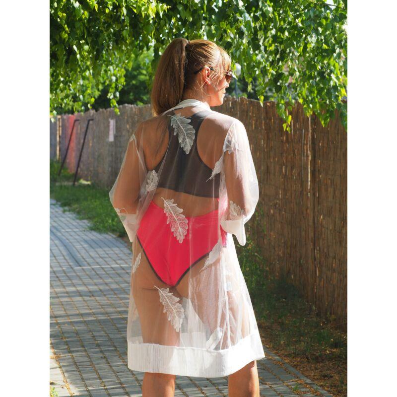 Lepel ruha fürdőruhára hímzett tollmintás fehér