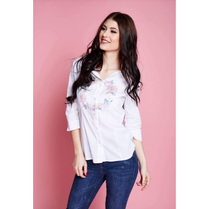 Anna Russo Fehér ing elején virág mintával