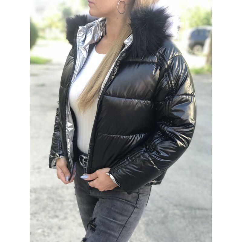 Rövid téliesített kapucnis dzseki fekete