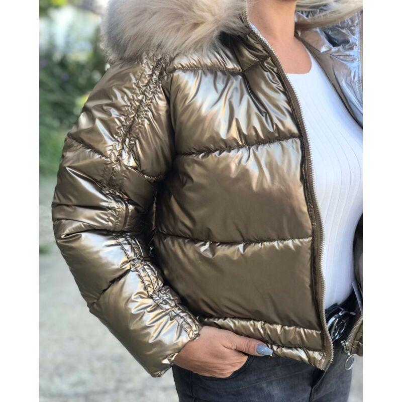 Rövid téliesített kapucnis dzseki arany
