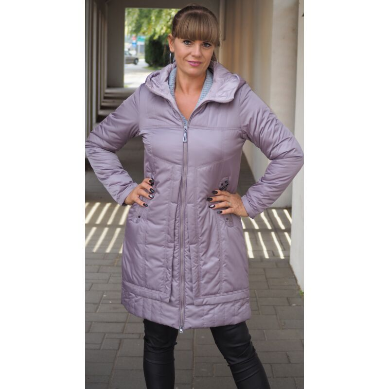 Lila steppelt kabát kapucnival 42-es méret