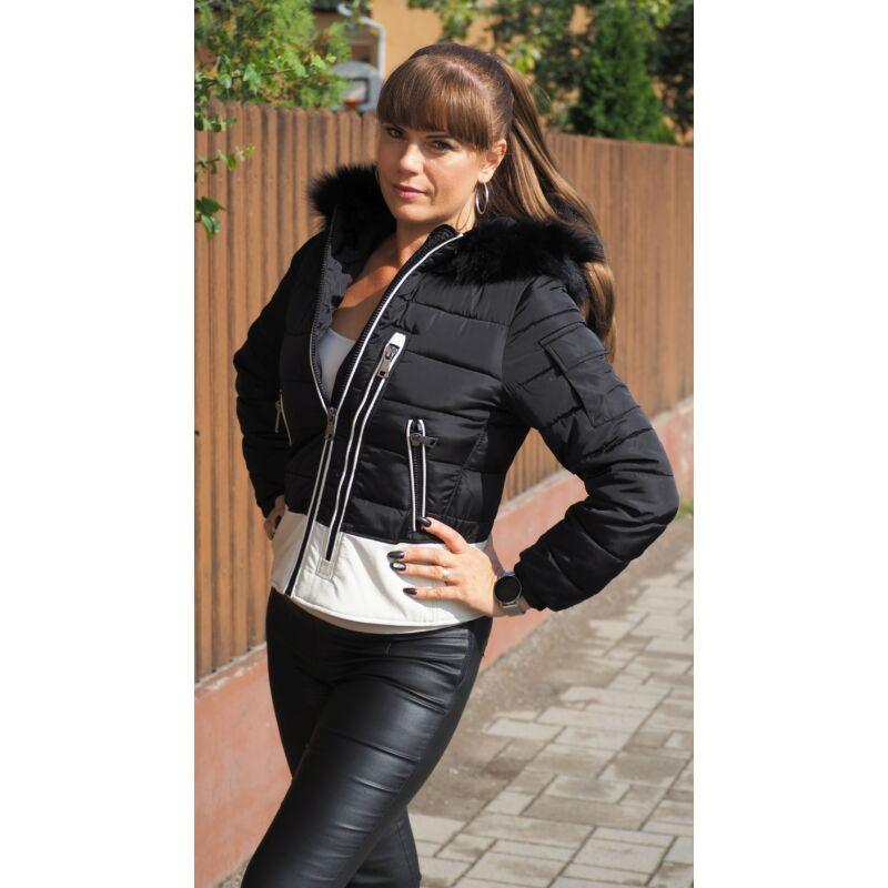 Fekete rövid kabát fehér bőrrel kapucnis