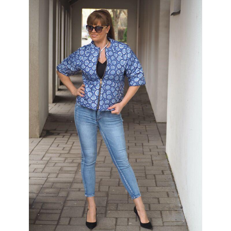 Tavaszi dzseki kék karika mintás M méret