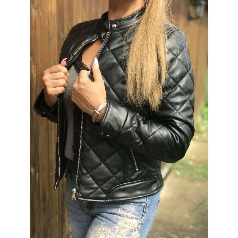 Steppelt fekete műbőr dzseki
