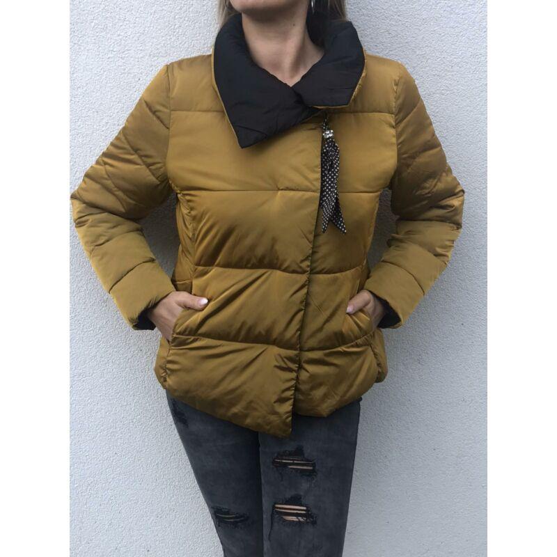 Rozsdabarna rövid dzseki pöttyös levehető dísszel