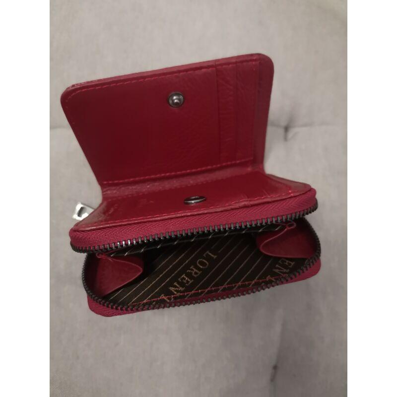 Piros kicsi cipzáros bőrpénztárca