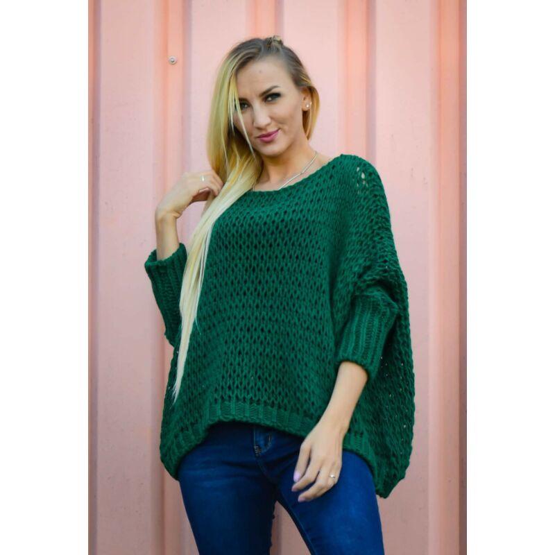 Nagy lyukacsos kötött pulcsi zöld