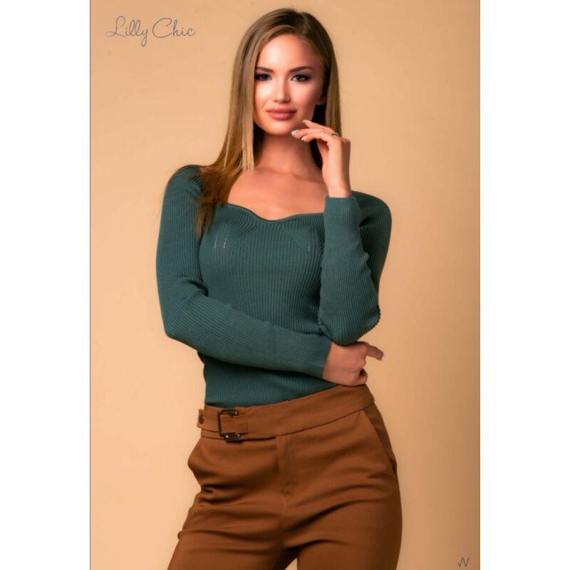 Zöld bordás pulóver