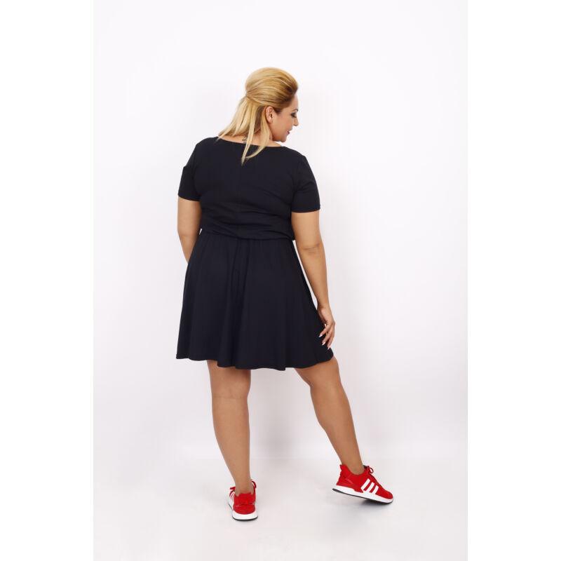 Pamut gumisderekú ruha fekete