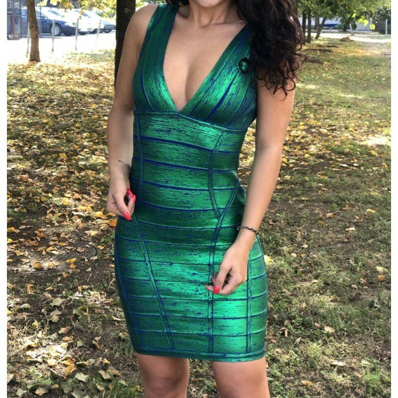 Ujjatlan bandázs ruha zöld