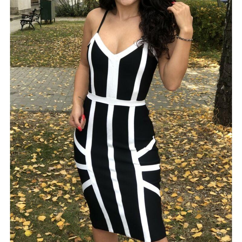 Fekete fehér bandázs alakformáló ruha