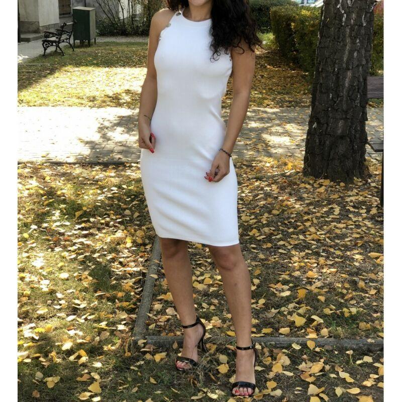 Ujjatlan kötött fehér ruha gombokkal