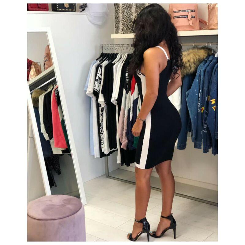 Vékonykötésű  fekete fehér ruha