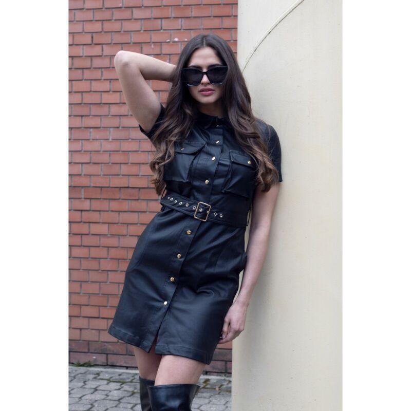 Fekete rövidujjú textilbőr ruha