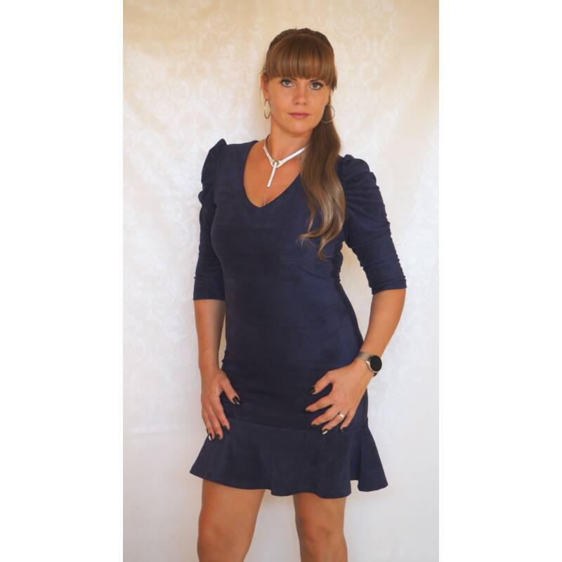 Robrow velúr ruha fodros aljjal kék