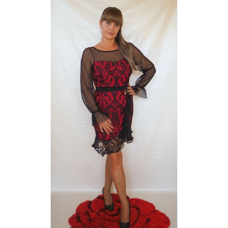 Botega Elena piros alkalmi ruha fekete csipkével 38-as méret