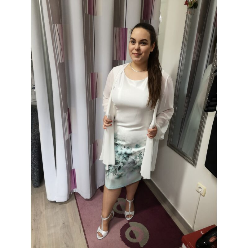 Fehér leples alkalmi ruha szürke kék virágokkal 48-as méret