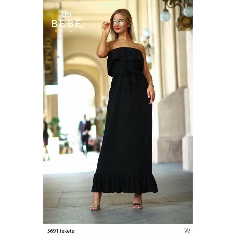 Maxi ruha fekete fodros