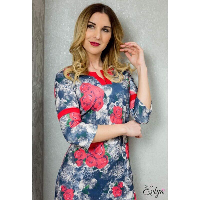 Extyn rózsás ruha 3/4-es ujjú XL-es méret