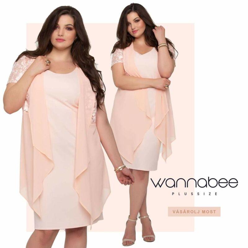 Wannabee alkalmi ruha csipkés muszlin felsővel barack színű