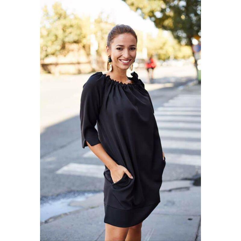 Anna Russo Fekete váll lehúzós ruha S/M méret