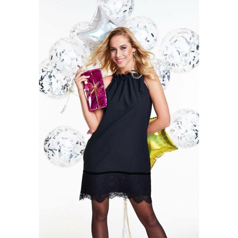 Anna Russo nyakán megkötős csipkés ruha fekete S-es méret