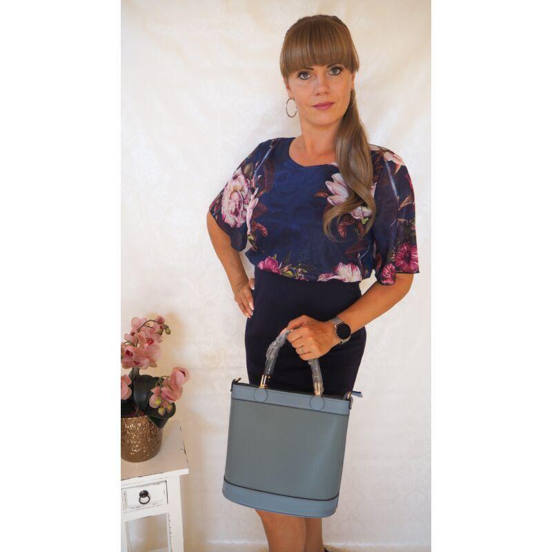 Kék felül bővebb fazonú virágos ruha M-es méret