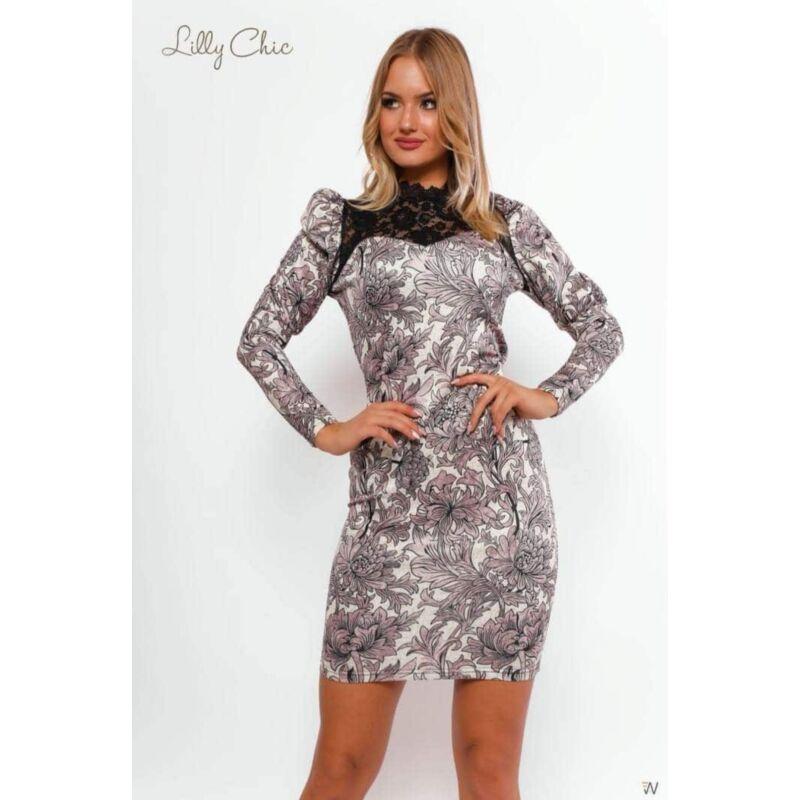 Lilly Chic Mintás ruha fekete csipke betéttel M-es méret