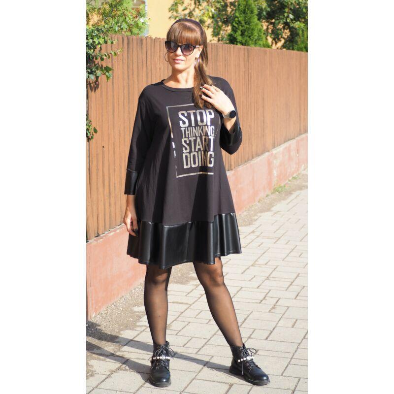Fekete arany feliratos ruha/tunika alul bőrrel