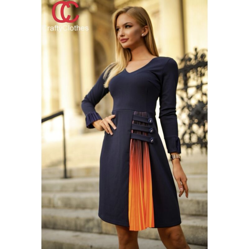 Crafty Clothes Sötétkék ruha narancs berakással