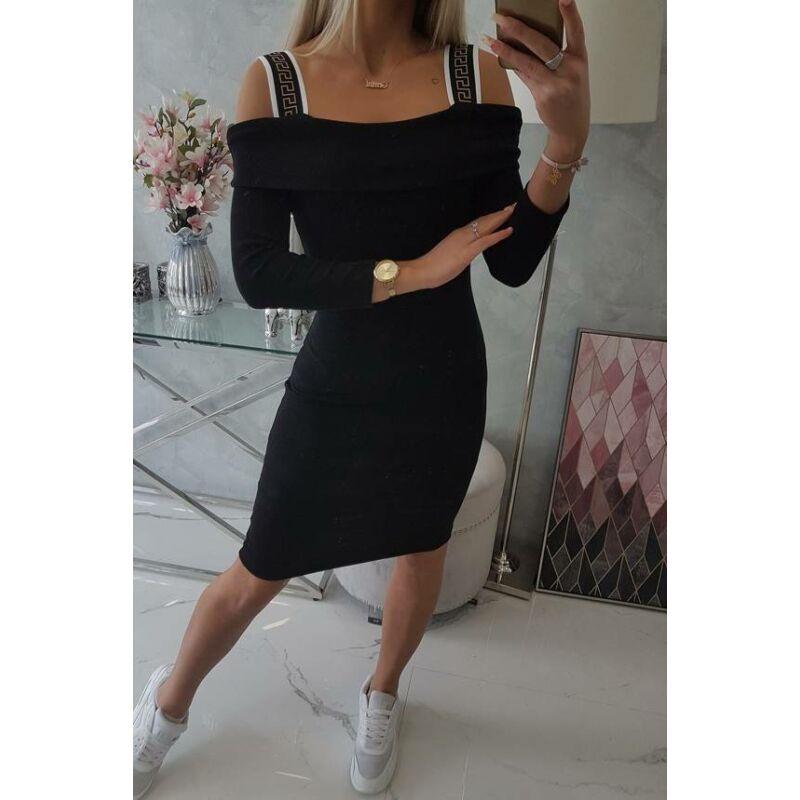 Bordázott ruha széles pánttal fekete