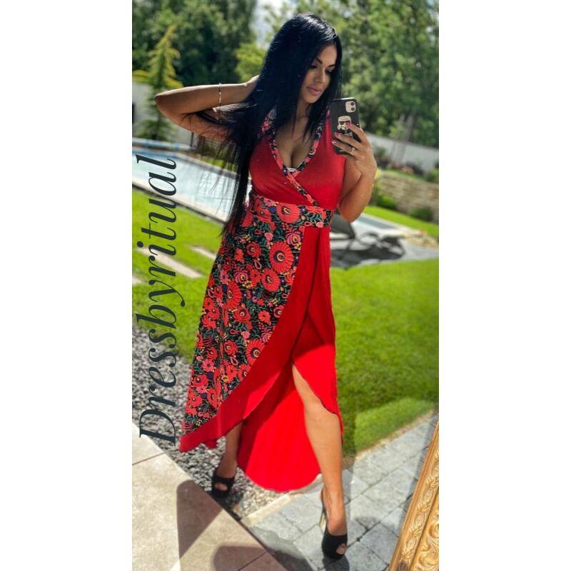 Piros maxi  ruha matyómintás