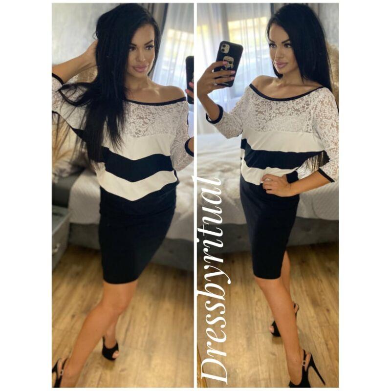 Fekete fehér csipkés ruha/tunika