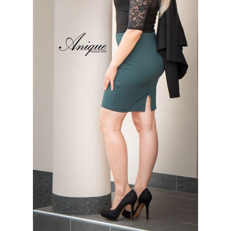 Anique Zöld szoknya zsebnél bőr díszítéssel